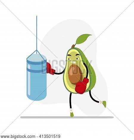 Avocado Boxing, Sport Life Concept. Healthy Lifestyle Avocado Boxing Challenge, Sport Equipment Recr