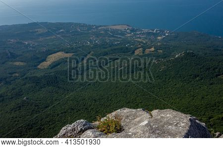 View Of The Black Sea Coast From A High Cliff Of The South Coast Of Crimea.