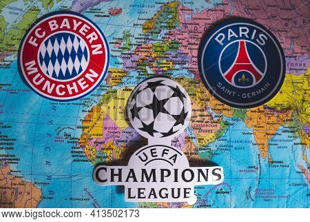 March 21, 2021, Istanbul, Turkey. The Emblems Of The Participants In The Quarter-finals Of The Uefa
