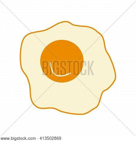 Egg, White And Yolk, Cartoon Fried Eggs. Hand-drawn Vector Icon, Flat Style. Healthy, Delicious Food