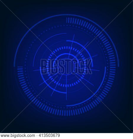 Abstract Technology Blue Interface Style Of Design Template. Overlapping Of Hightech Background. Ill