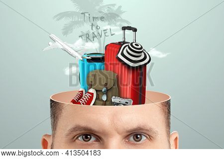 Travel, Vacation Concept. A Creative Image Of A Man In His Head Instead Of A Brain Is Suitcases, A S