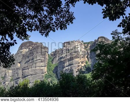 Meteora Greece. Picturesque Rocks Against Blue Sky. Travel, Vacation. Beauty In Nature, Mountain Lan