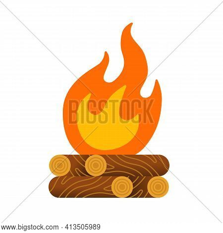 Campfire With Firewood. Flat Vector Isolated On White.
