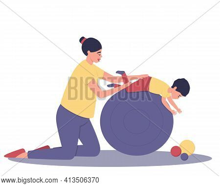 Mom And Baby Are Doing Exercises On A Large Ball. A Fun Pastime And Tactile Contact Between Mom And