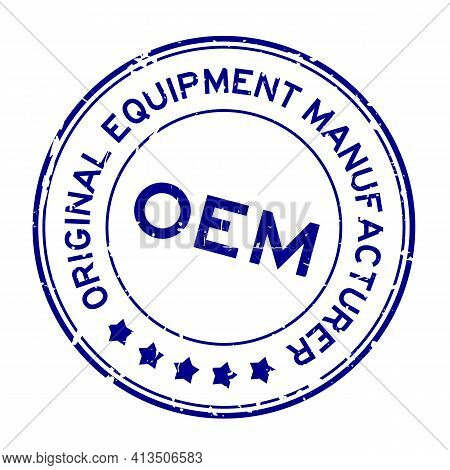 Grunge Blue Oem (abbreviation Of Original Equipment Manufacturer) Word Round Rubber Seal Stamp On Wh