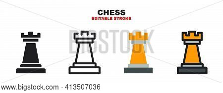 Chess Rook Icon Set With Different Styles. Colored Vector Icons Designed In Filled, Outline, Flat, G