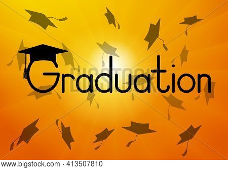 Graduation, Throwed Square Academic Caps Or Mortarboard On Background Of Sunrise. Vector Illustratio