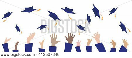 Graduation Banner. Graduates Hands Throwing Square Academic Caps Or Mortarboards. Vector Illustratio