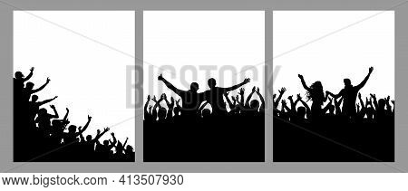 Silhouette Of Cheerful Crowd People, Vertical Posters, Set. Fun People On Party Or Holiday Or Concer