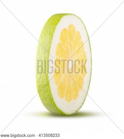 Round Cut Pomelo Isolated On White Background. High Quality Retouching And Full Depth Of Field. Frui