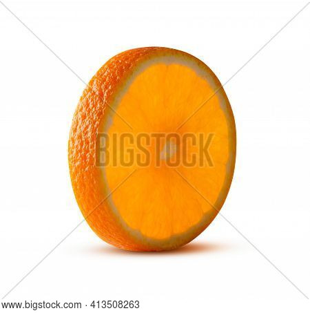 Round Cut  Of Orange, Glowing From Inside Isolated On White. High Resolution And Full Depth Of Field