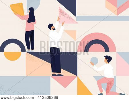 Group Or Team Of Three People Arranging Geometric Shapes Into An Abstract Design In Muted Pastel Col