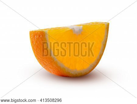 Half Circle Of Orange, Glowing From Inside Isolated On White. Magic Play Of Light And Shadow. High R