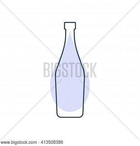 Modern Abstract Illustration With Bottle Martini With Color Blob. Linear Outline Sign. Logo Icon On