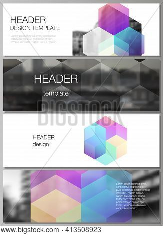 Vector Layout Of Headers, Banner Design Templates With Abstract Shapes And Colors For Website Footer
