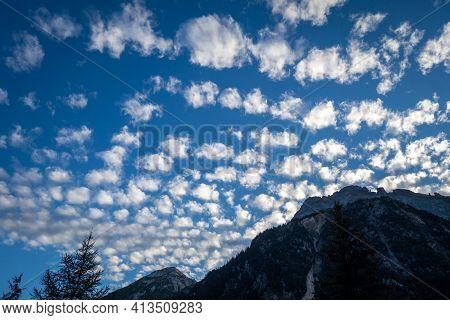 Altocumulus Clouds On Vanoise National Park Mountains, Savoy, French Alps