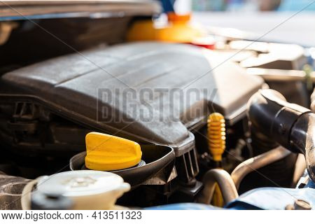 Change The Oil Of Machine. Car Mechanic Replacing And Pouring Fresh Oil. Maintenance Car Repair Auto