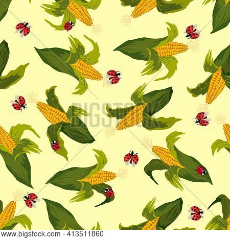 Colored Corn In A Seamless Pattern.ladybugs And Corn On A Colored Background In A Vector Pattern.