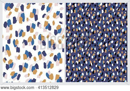 Wild Animal Skin Seamless Vector Patterns. Leopard Skin Print. Brown And Blue Irregular Spots On A D