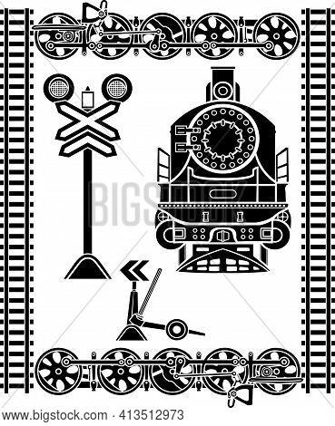 Large Set Of Railway Stencils, Locomotive, Rails, Semaphore, Locomotive Wheels