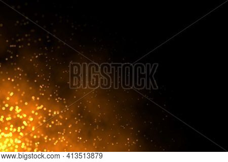 Abstract Illustration Of Sparkling Burning Fire On Dark Black Background With Copy Space On Right Si