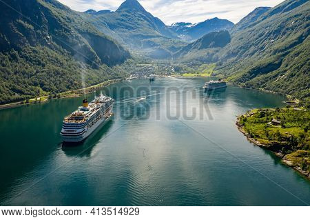 Geiranger fjord, Beautiful Nature Norway. The fjord is one of Norway's most visited tourist sites. Geiranger Fjord, a UNESCO World Heritage Site