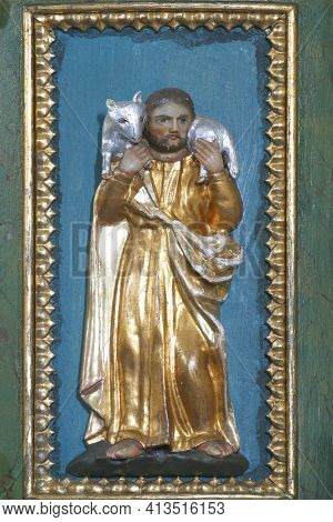 SVETI PETAR MREZNICKI, CROATIA - JULY 14, 2013: Jesus the Good Shepherd, pulpit at St. Peter's Parish Church in Sveti Petar Mreznicki, Croatia