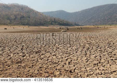 The Drought Land Texture In Thailand. The Global Shortage Of Water On The Planet. Global Warming And