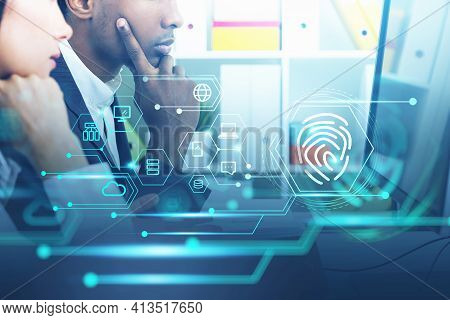 Two People In Office Interior, Double Exposure With Network Communication And Data Service. Teamwork
