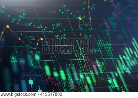 Colourful Stock Market Virtual Display, Business Candlesticks Graph Chart. Rising Economy And Dots,