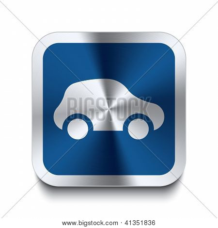 Square Metal Button - Blue Car Icon