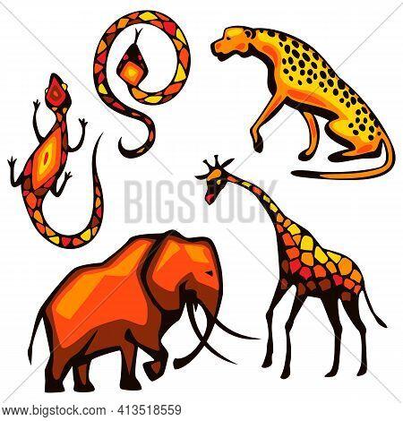 Set Of African Animals. Illustration Of Savannah Wildlife.