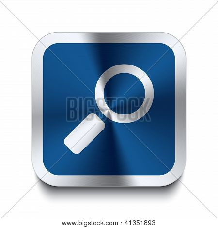 Square Metal Button - Blue Magnifier Icon