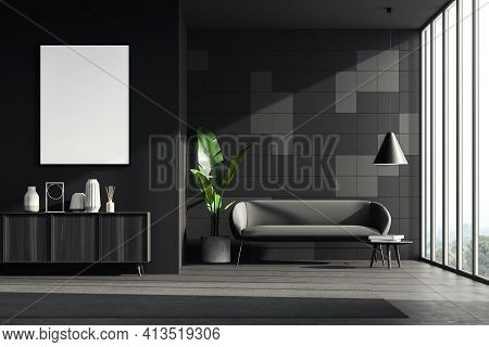Dark Living Room Interior With A Grey Cosy Sofa, Small Coffee Table, Wooden Sideboard. Black Wall Is