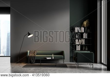 Dark Grey Modern Living Room Interior With Panoramic Windows Furnished By Green Sofa And Armchairs,