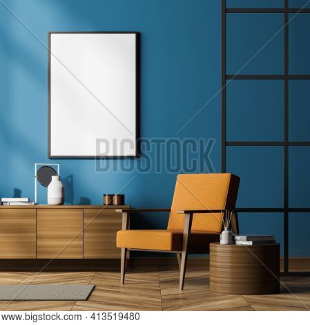 Modern Living Room Interior Including Cosy Orange Armchair, Glass Lattice Partition, Sideboard, Post