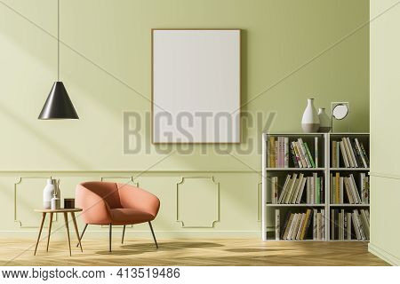 Cosy Waiting Room Interior With Comfortable Armchair On The Left Side, Empty Poster On The Green Wal