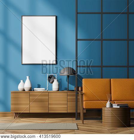 Modern Living Room Interior Including Cosy Orange Sofa, Glass Lattice Partition, Sideboard, Poster O