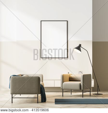 Bright Contemporary Waiting Room Interior With Two Beige Armchair On Oak Wooden Parquet Floor And Em