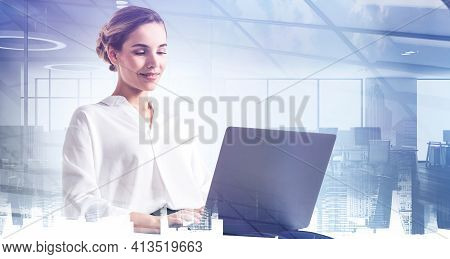 Office Woman Smiling Typing In Laptop, Business Conference Room And Panoramic Windows, City Building