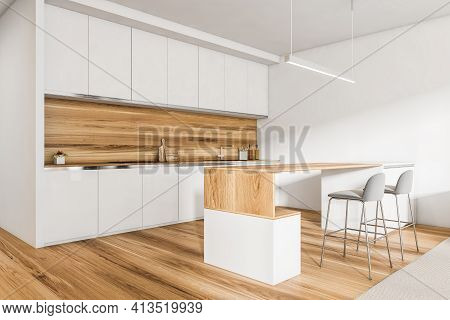 Light Kitchen Set With Wooden Table And Two Grey Bar Chairs, Wooden Floor. Kitchen Interior With Min