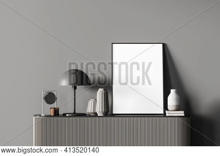 Modern Dark Colors Living Room Interior With Chest Of Drawers. Vases, Lamp And Blank Canvas Poster F