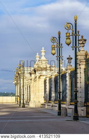 Exterior Fence Of The Royal Palace Of Madrid, On Its Facade Of The Esplanade And Exterior Patio. Spa