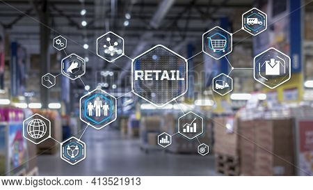 Retail Marketing Channels E-commerce. Shopping Automation On Blurred Supermarket Background 2021