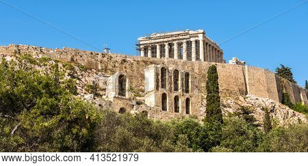 Acropolis Of Athens, Greece. Scenic View Of Parthenon Temple On Its Top. This Place Is Famous Landma