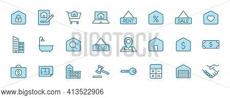 Real Estate Outline Vector Icons In Two Colors Isolated On White Background. Real Estate Blue Icon S