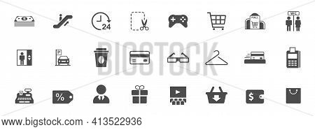 Shopping Mall Silhouette Vector Icons Isolated On White. Shopping Mall Icon Set For Web, Mobile Apps