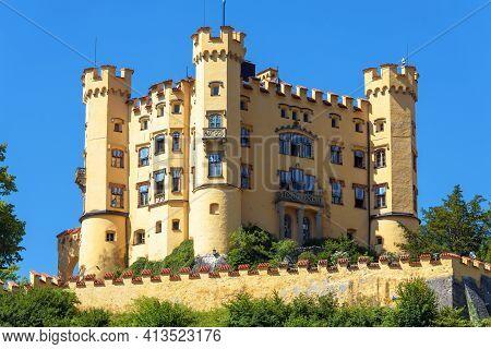 Hohenschwangau Castle In Germany. Royal Schloss Hohenschwangau Is Famous Landmark Of Bavarian Alps.