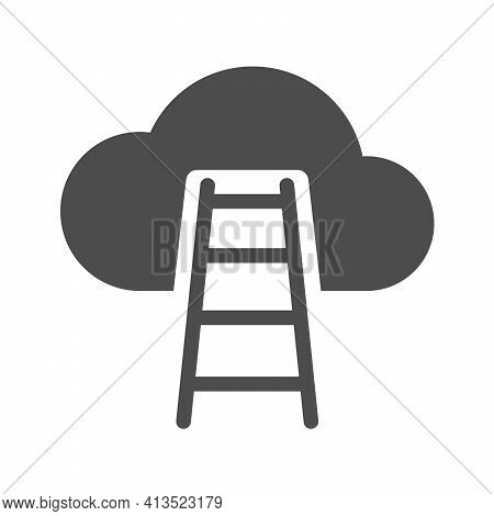 Career Ladder To Sky Vector Icon Isolated On White. Success Ladder To Cloud Silhouette Icon For Web,